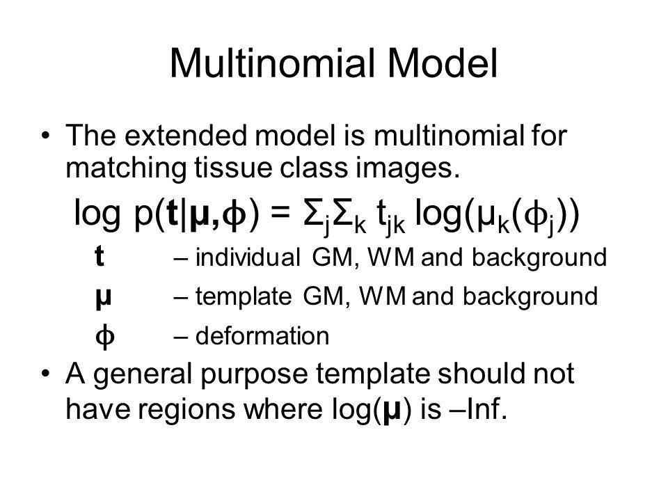 Multinomial Model log p(t|μ,ϕ) = ΣjΣk tjk log(μk(ϕj))