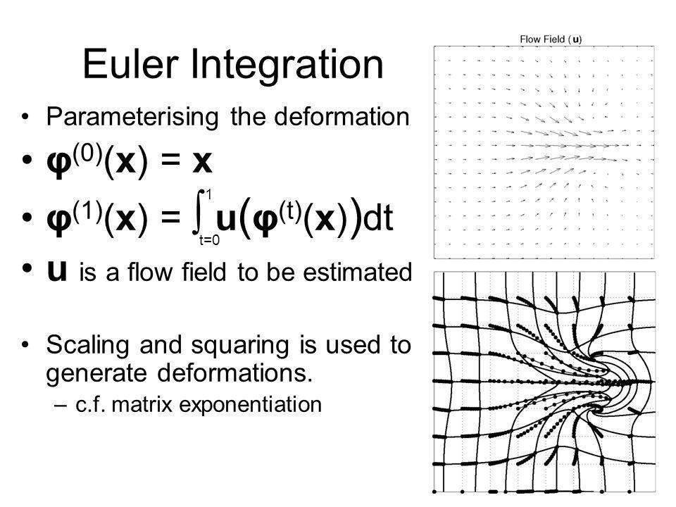 Euler Integration φ(0)(x) = x φ(1)(x) = ∫ u(φ(t)(x))dt
