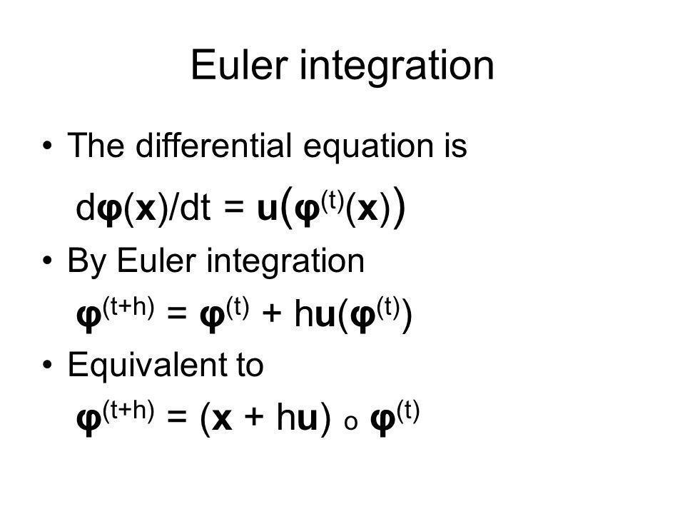 Euler integration dφ(x)/dt = u(φ(t)(x)) φ(t+h) = φ(t) + hu(φ(t))