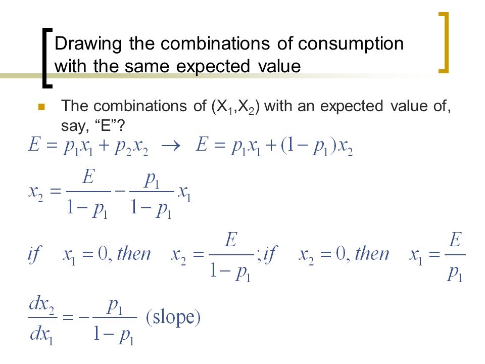 Drawing the combinations of consumption with the same expected value