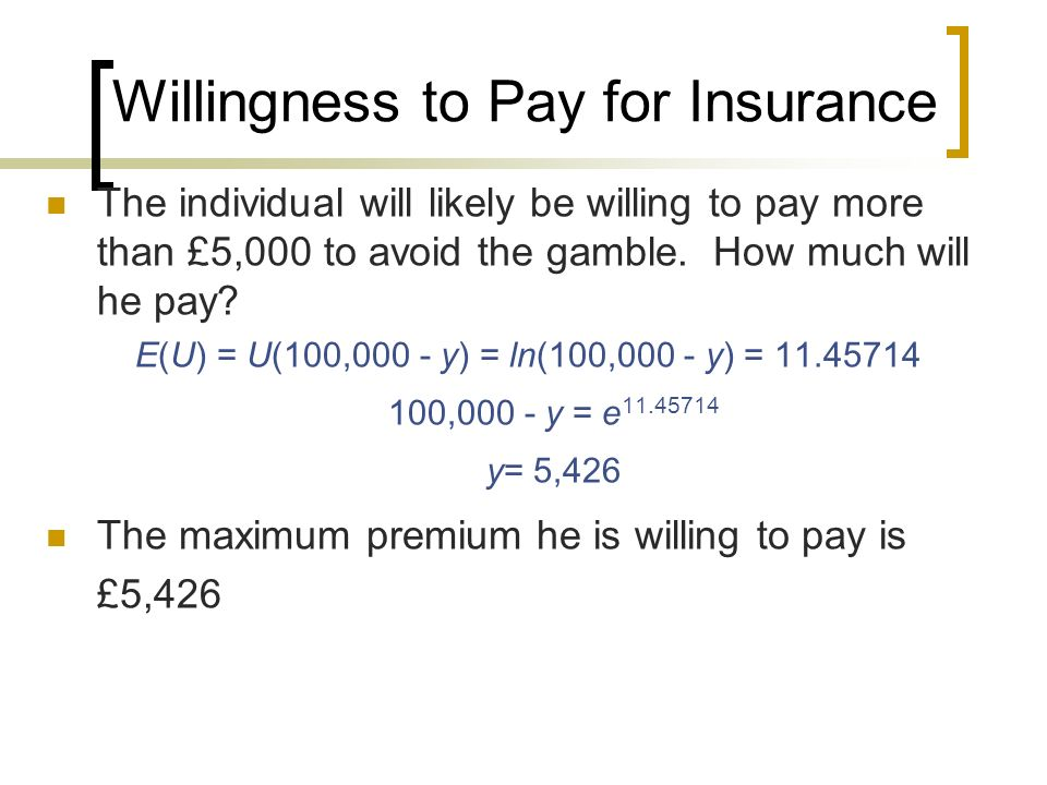 Willingness to Pay for Insurance