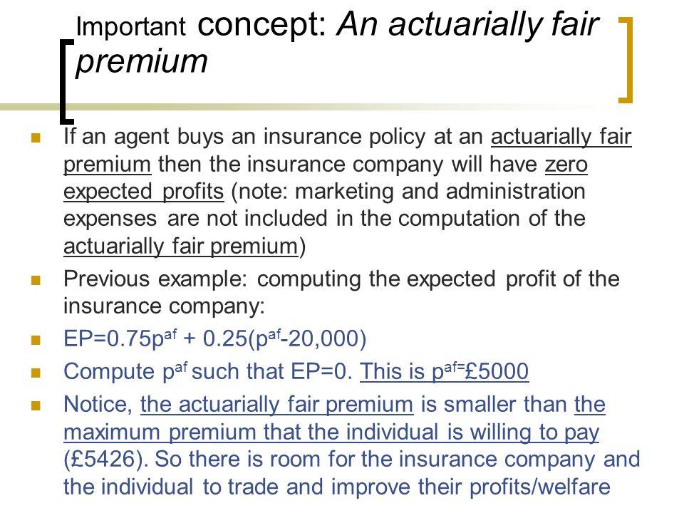 Important concept: An actuarially fair premium