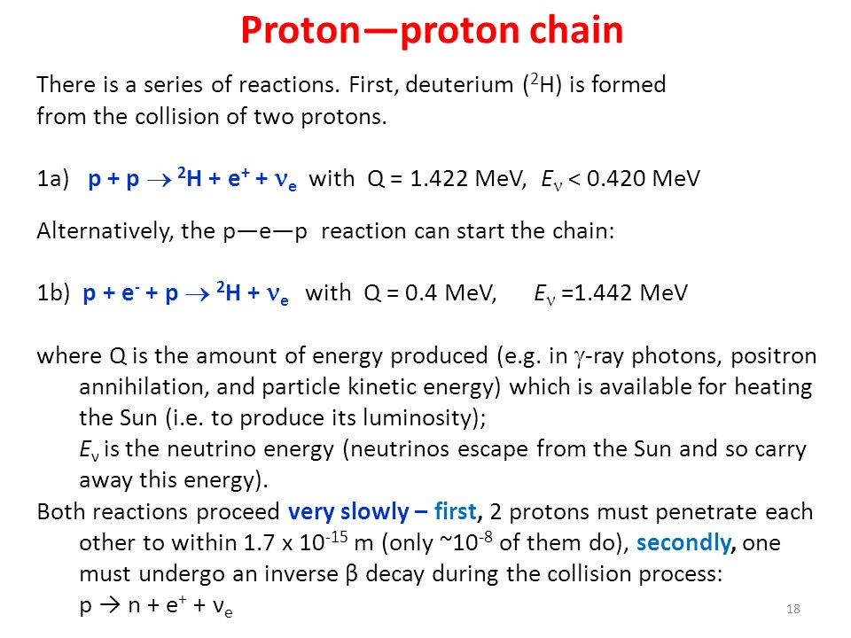 Proton—proton chain There is a series of reactions. First, deuterium (2H) is formed. from the collision of two protons.