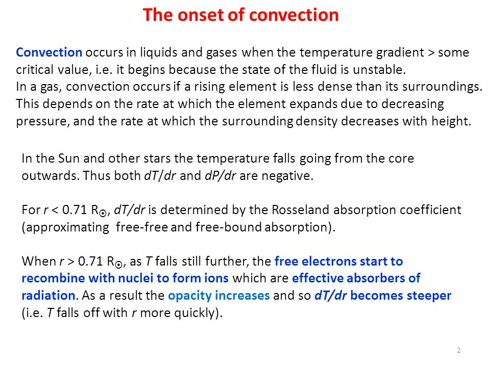 The onset of convection