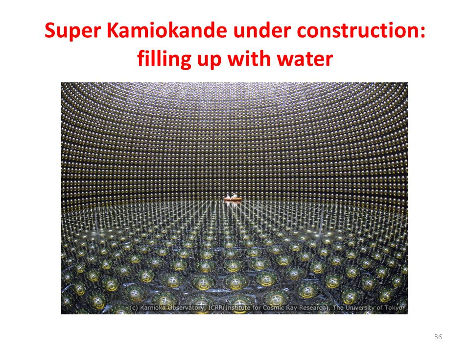 Super Kamiokande under construction: filling up with water