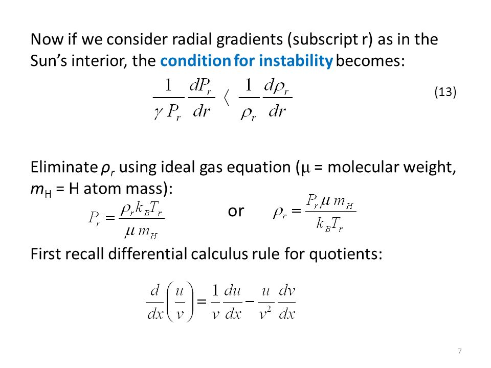 First recall differential calculus rule for quotients: