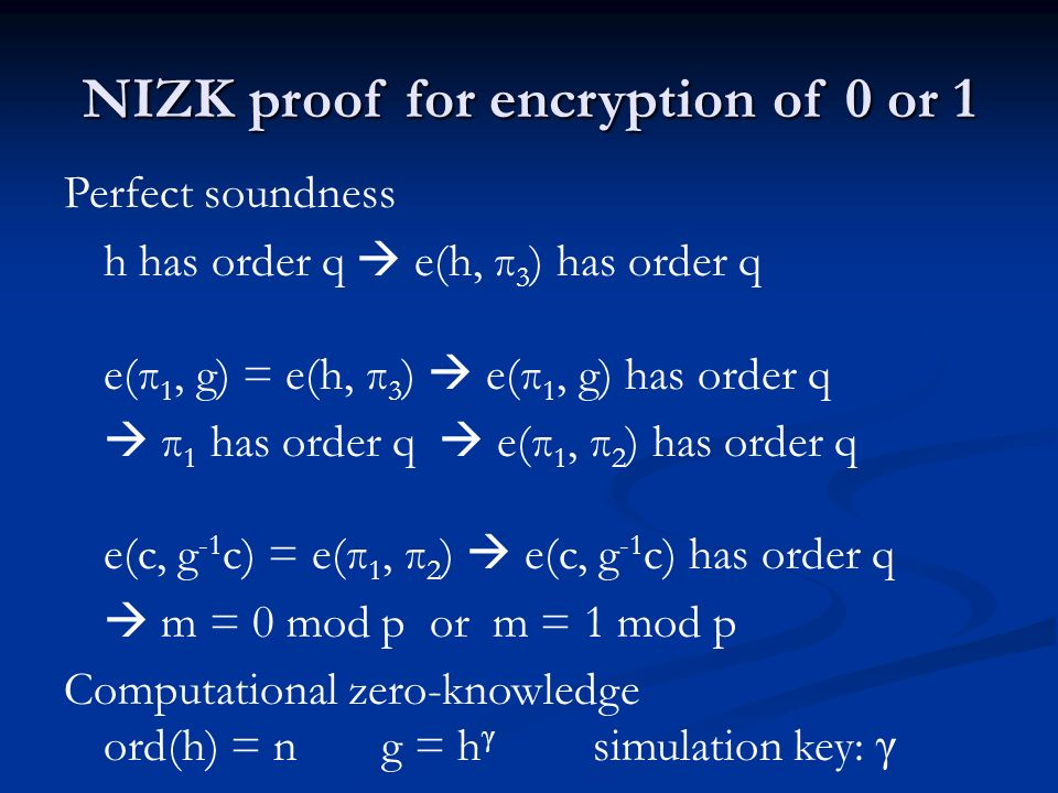 NIZK proof for encryption of 0 or 1