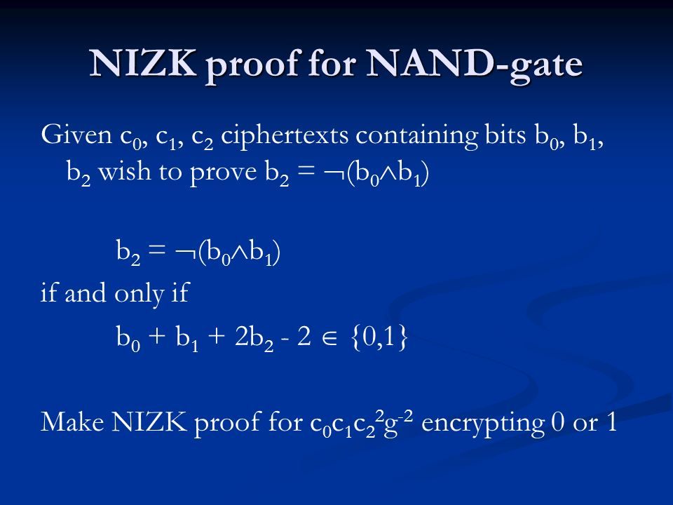 NIZK proof for NAND-gate