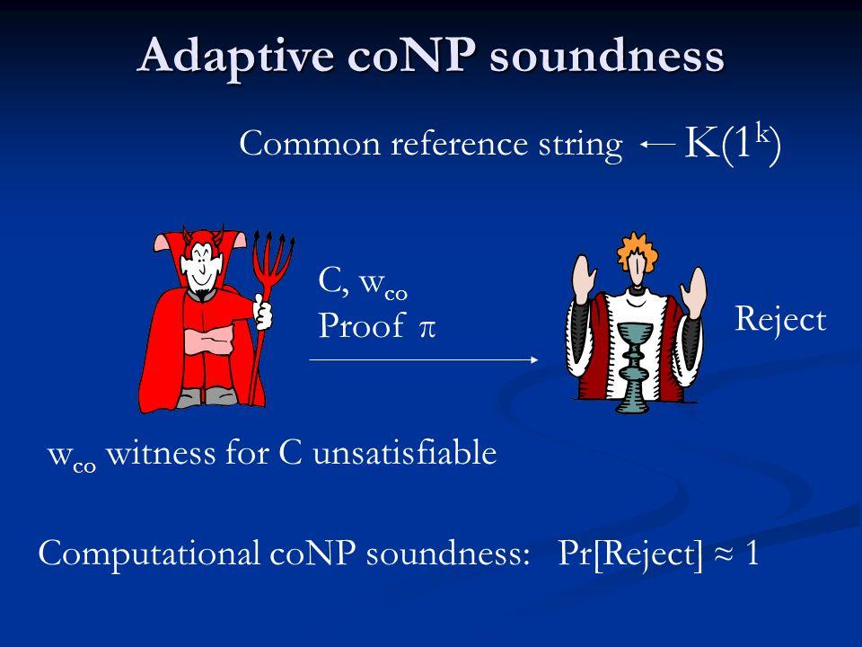 Adaptive coNP soundness