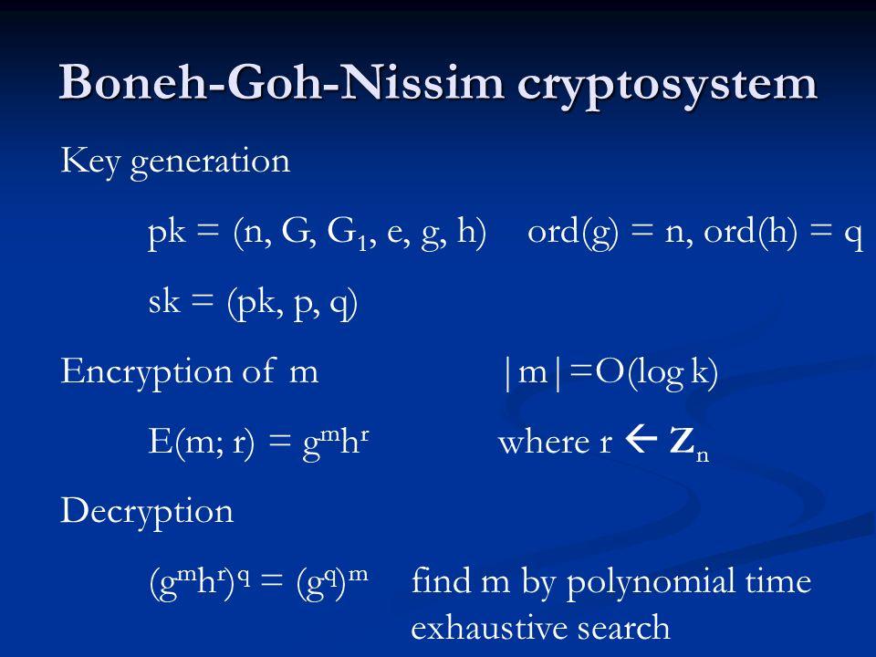 Boneh-Goh-Nissim cryptosystem