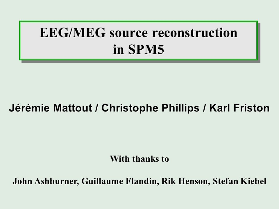 EEG/MEG source reconstruction in SPM5