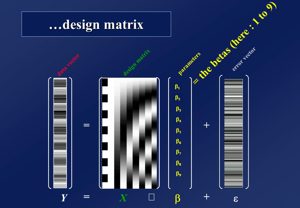 …design matrix = the betas (here : 1 to 9) = + Y = X ´ b + e