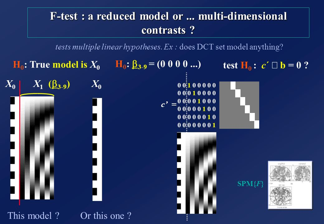 F-test : a reduced model or ... multi-dimensional contrasts