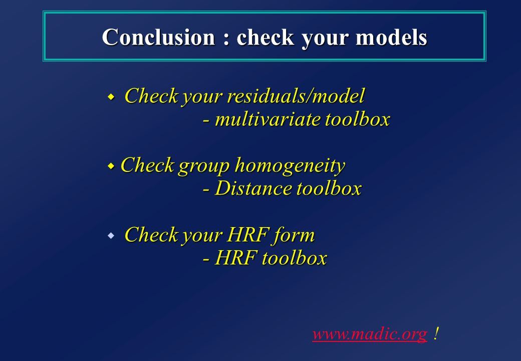 Conclusion : check your models
