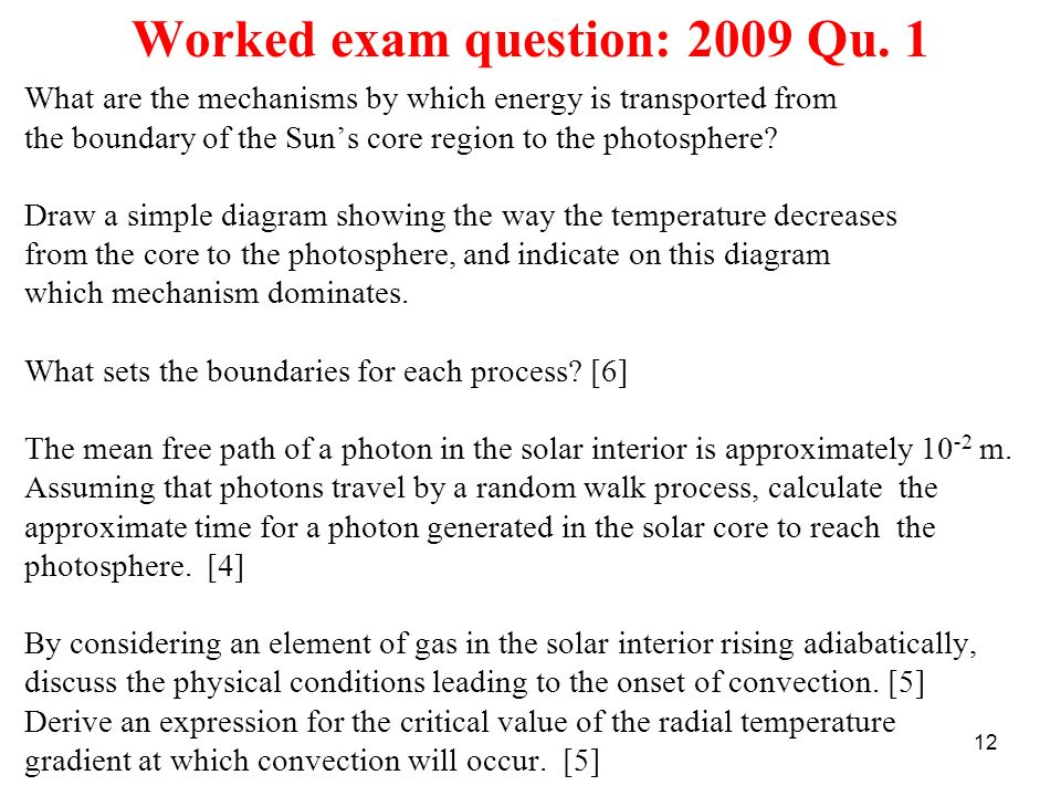 Worked exam question: 2009 Qu. 1