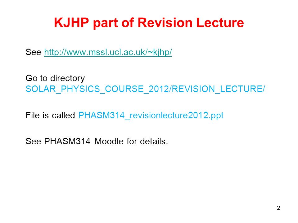 KJHP part of Revision Lecture