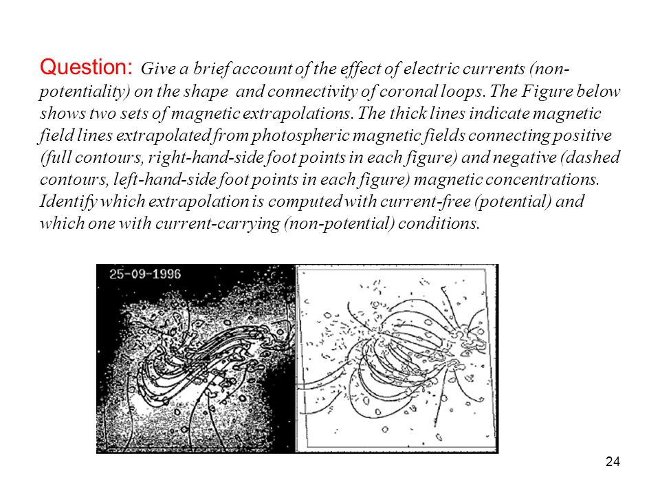 Question: Give a brief account of the effect of electric currents (non-potentiality) on the shape and connectivity of coronal loops.