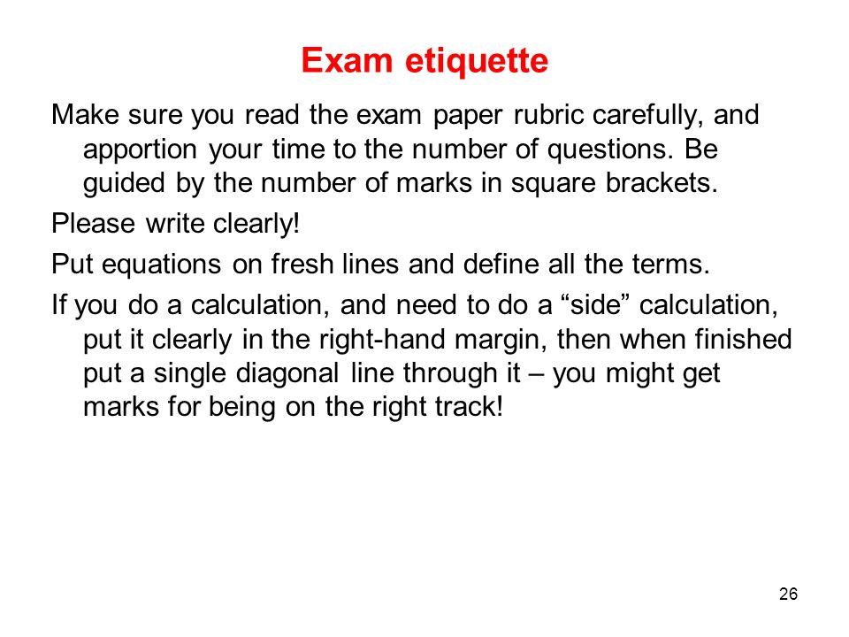 Exam etiquette