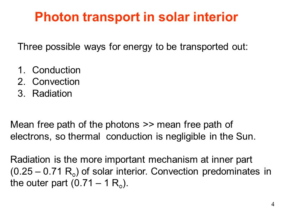 Photon transport in solar interior