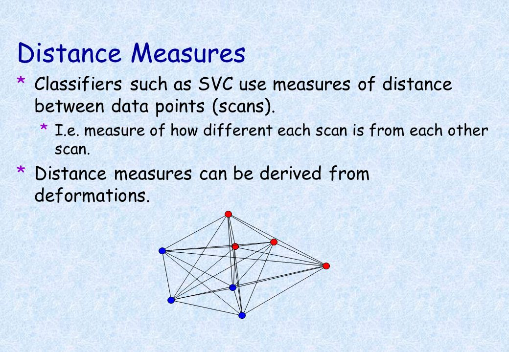 Distance Measures Classifiers such as SVC use measures of distance between data points (scans).