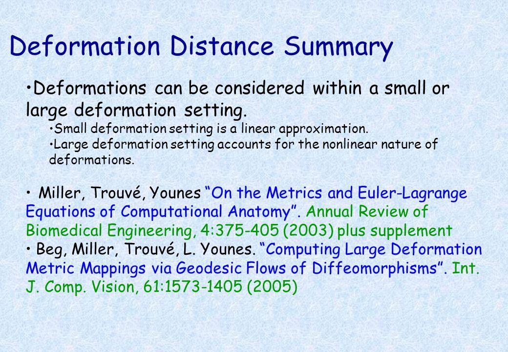 Deformation Distance Summary