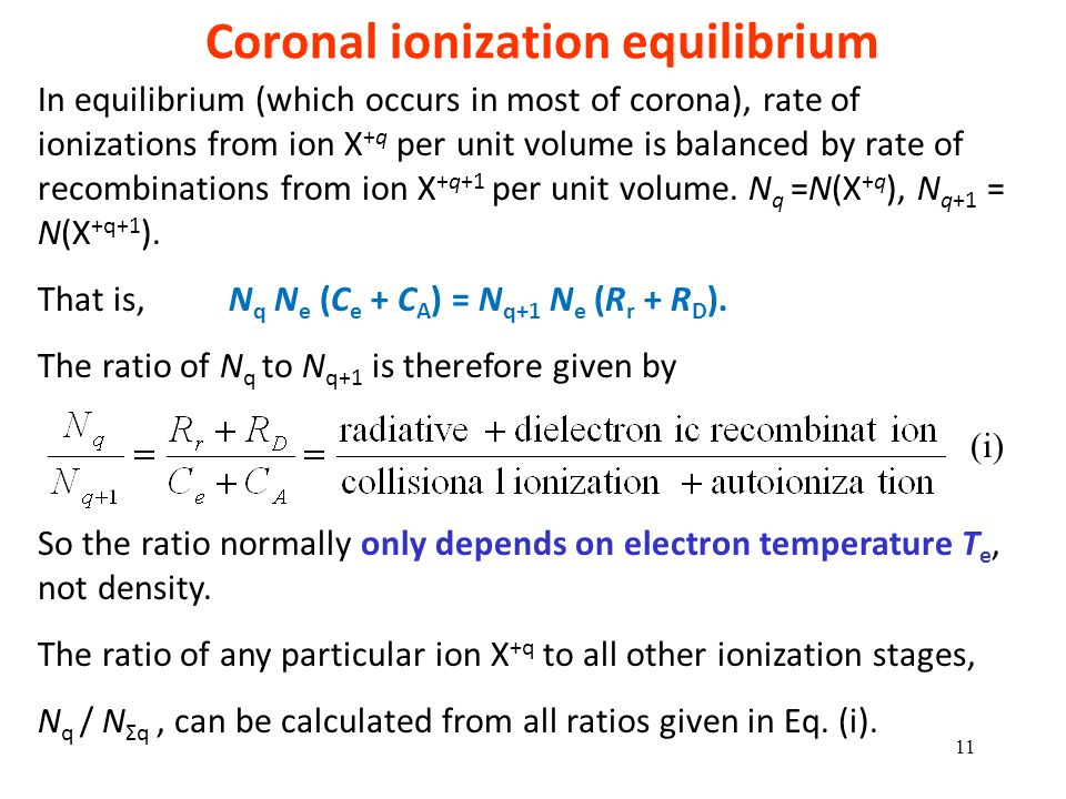 Coronal ionization equilibrium
