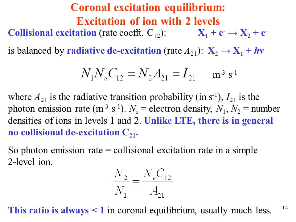 Coronal excitation equilibrium: Excitation of ion with 2 levels