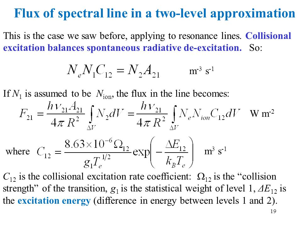 Flux of spectral line in a two-level approximation