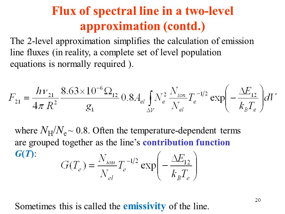 Flux of spectral line in a two-level approximation (contd.)