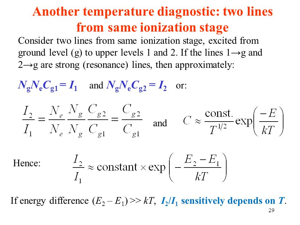 Another temperature diagnostic: two lines from same ionization stage