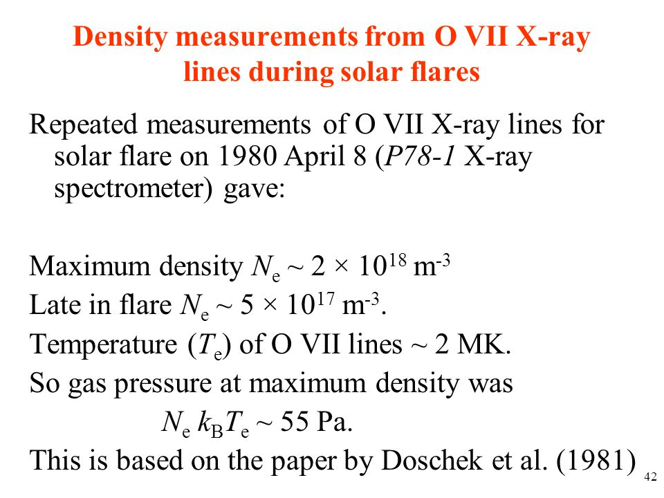 Density measurements from O VII X-ray lines during solar flares