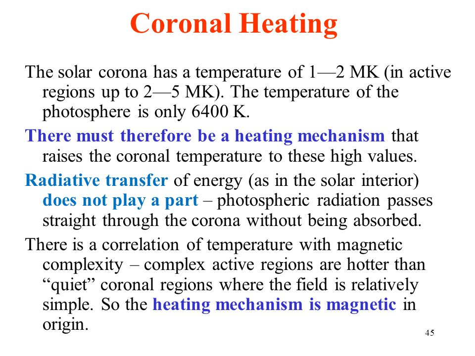 Coronal HeatingThe solar corona has a temperature of 1—2 MK (in active regions up to 2—5 MK). The temperature of the photosphere is only 6400 K.
