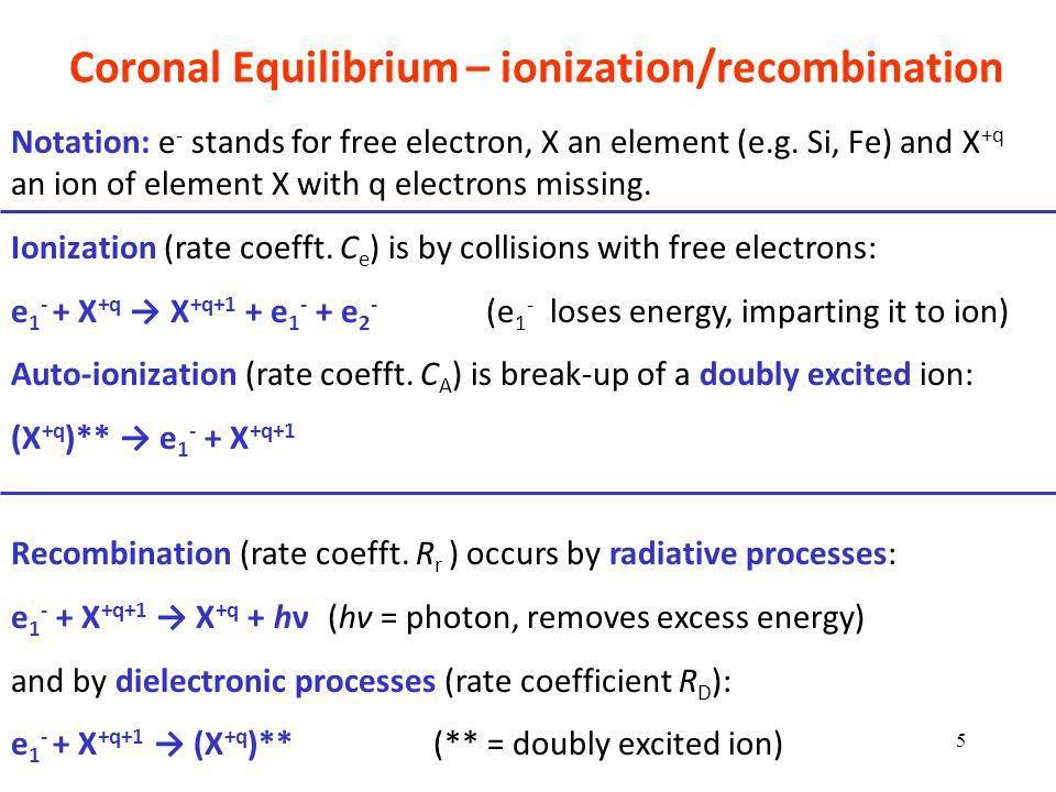 Coronal Equilibrium – ionization/recombination