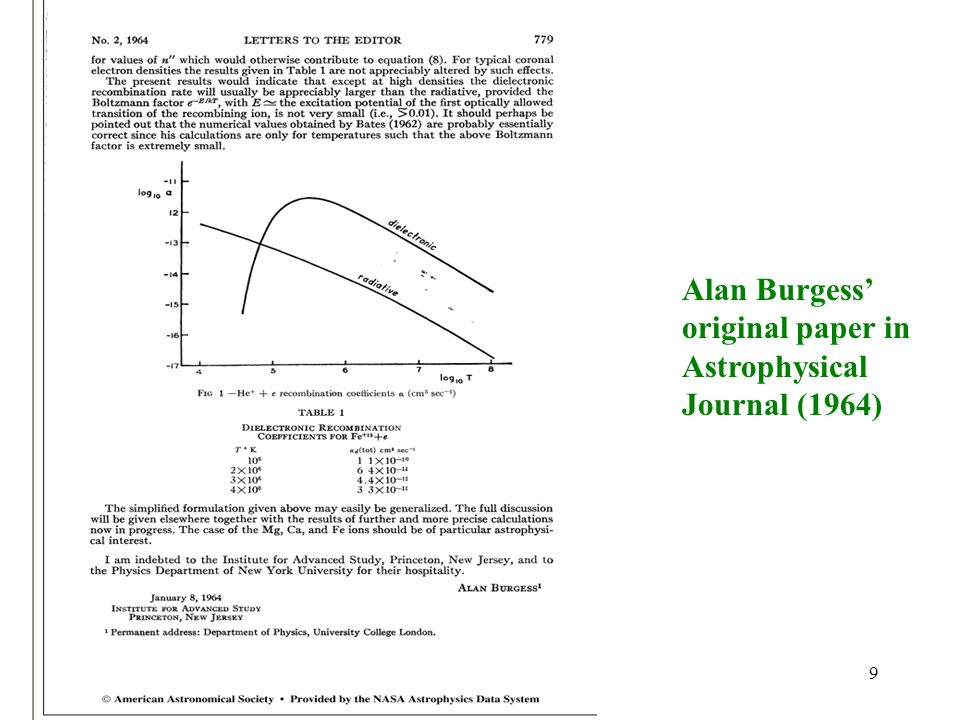 Alan Burgess' original paper in Astrophysical Journal (1964)