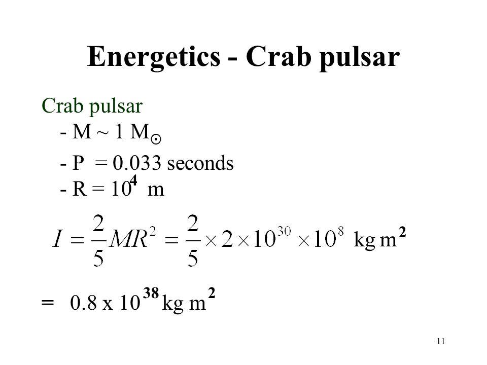 Energetics - Crab pulsar