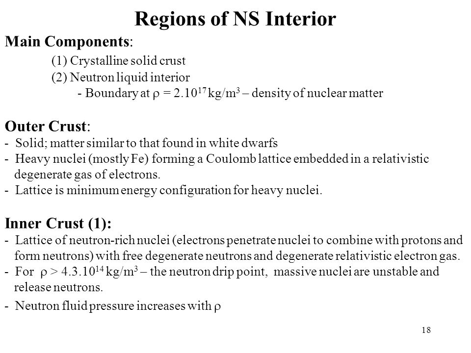 Regions of NS Interior Main Components: (1) Crystalline solid crust