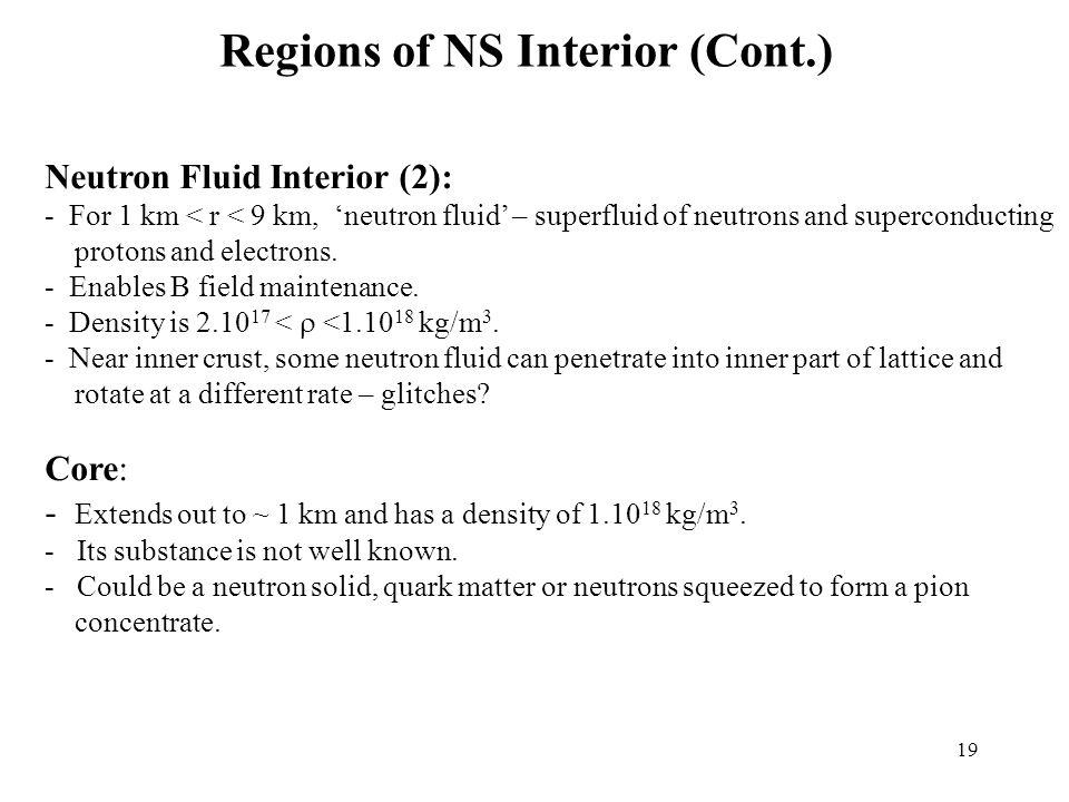 Regions of NS Interior (Cont.)