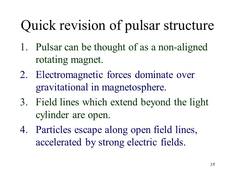 Quick revision of pulsar structure