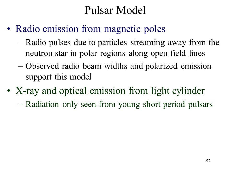 Pulsar Model Radio emission from magnetic poles