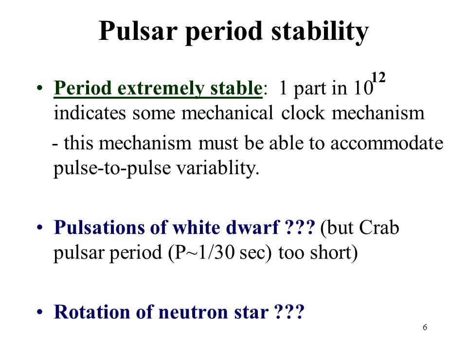 Pulsar period stability