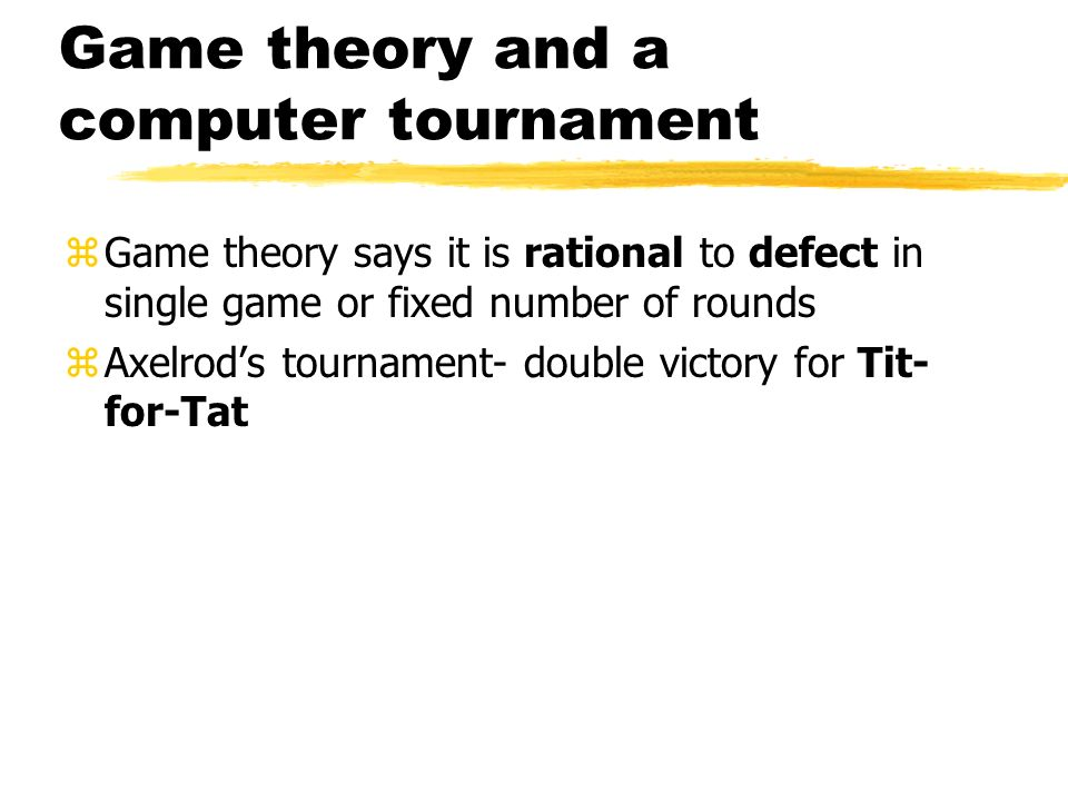 Game theory and a computer tournament
