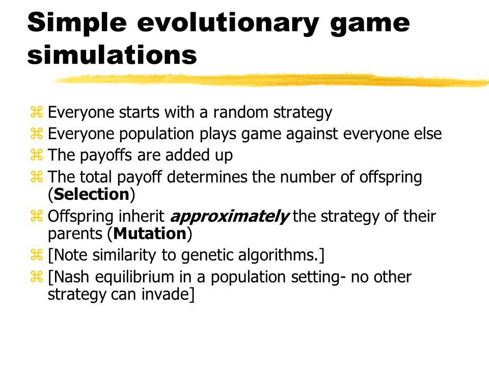 Simple evolutionary game simulations