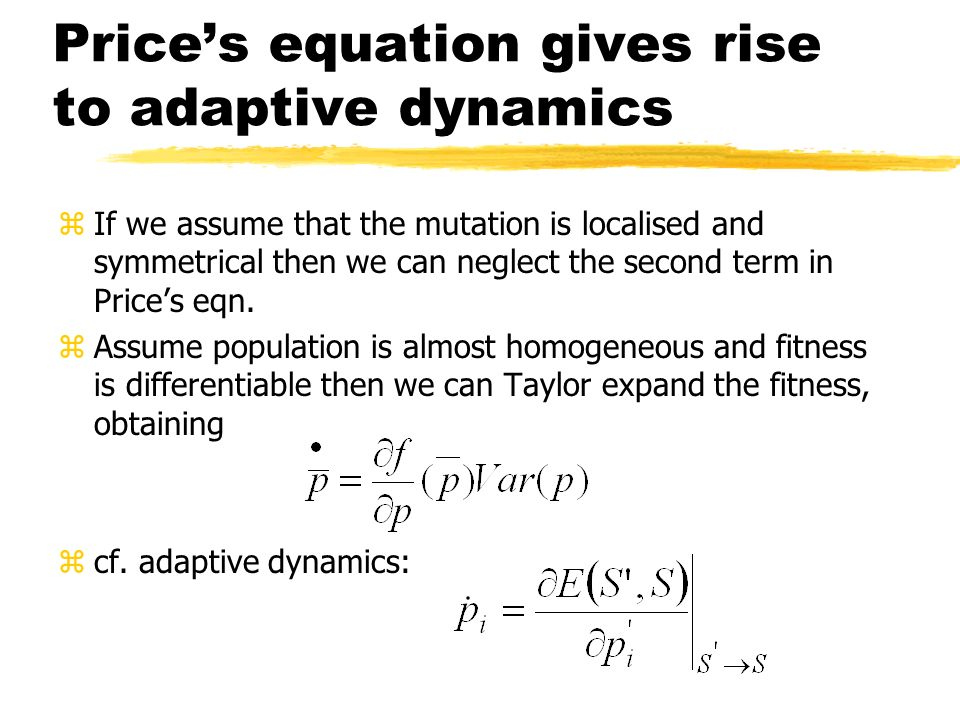 Price's equation gives rise to adaptive dynamics