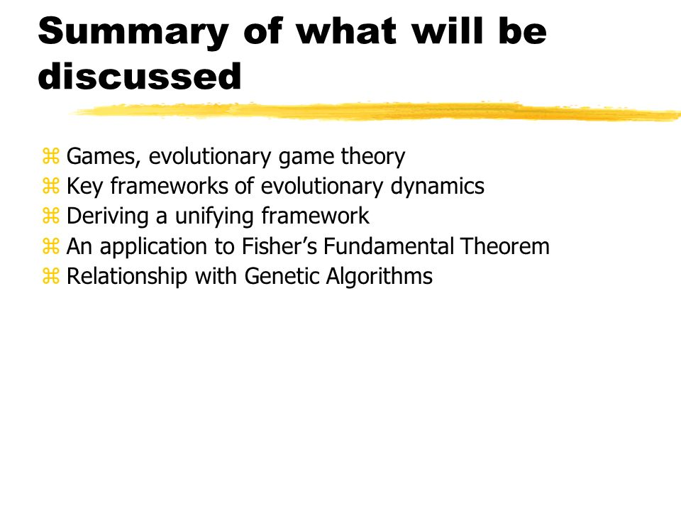 Summary of what will be discussed