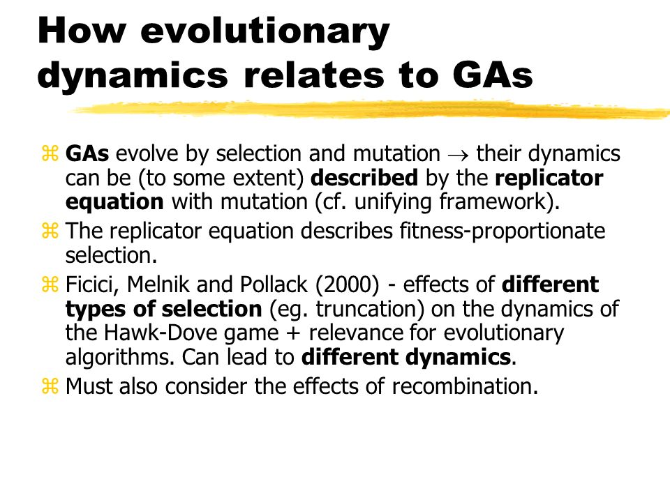 How evolutionary dynamics relates to GAs