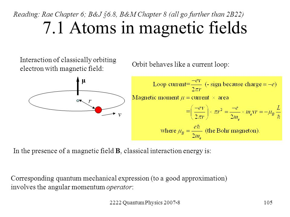 7.1 Atoms in magnetic fields