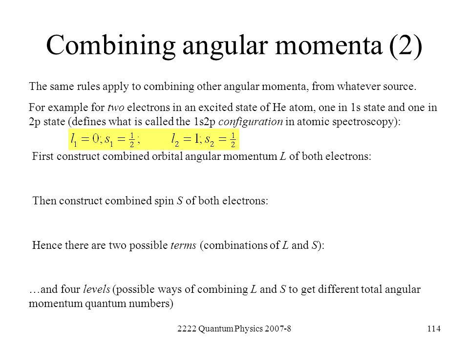 Combining angular momenta (2)