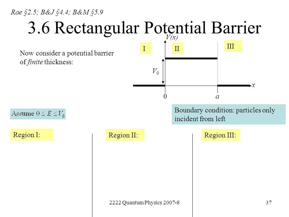 3.6 Rectangular Potential Barrier