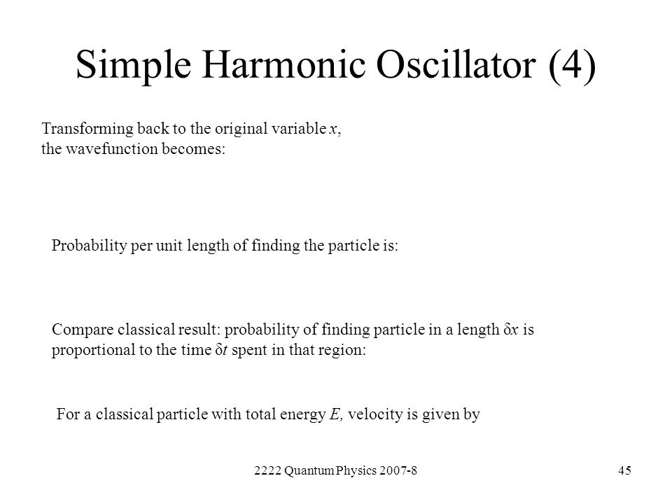 Simple Harmonic Oscillator (4)