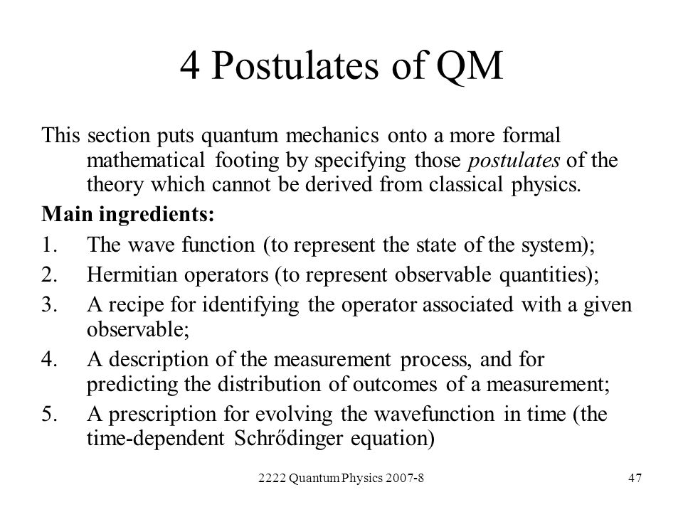 4 Postulates of QM